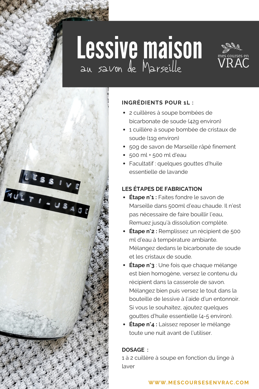 Recette de lessive maison au savon de Marseille - Mes courses en vrac