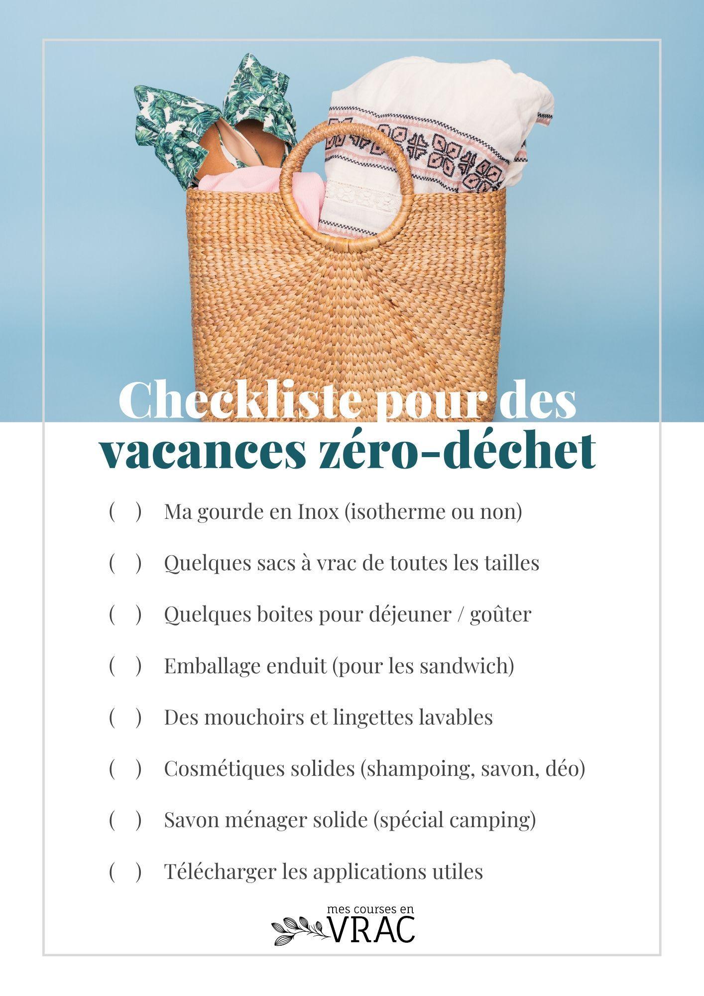Checklist pour des vacances zé-déchet